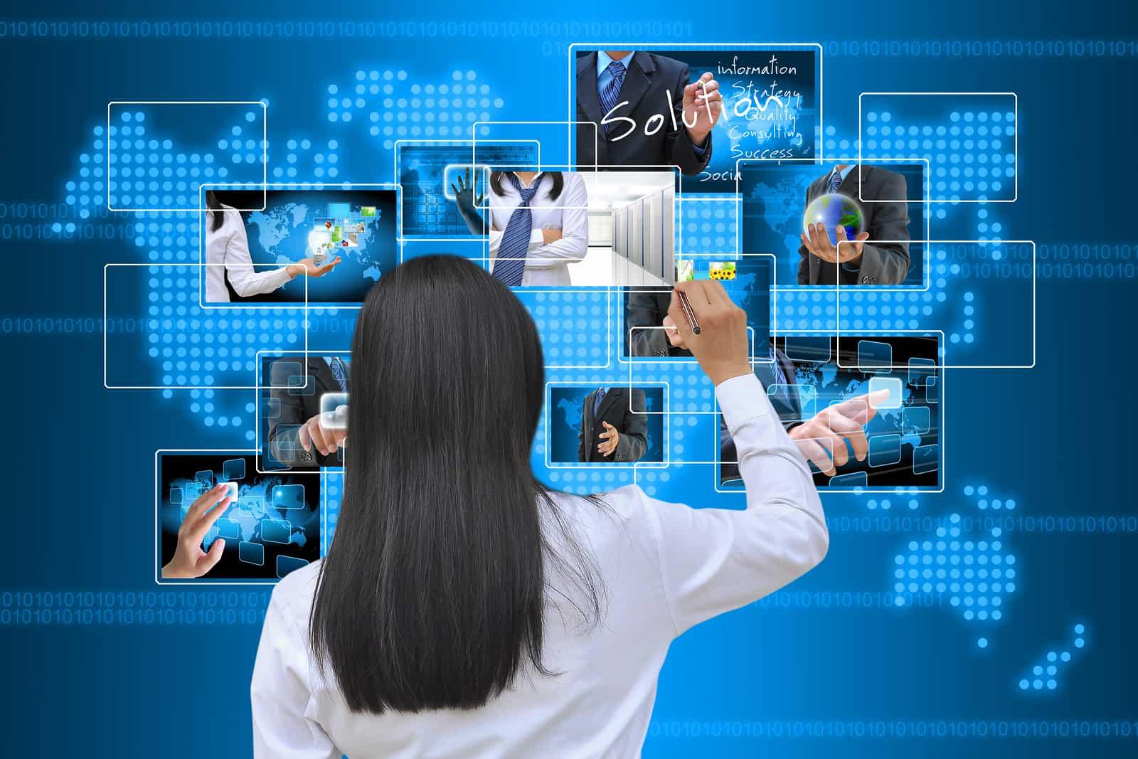 A working women hand writing virtual button